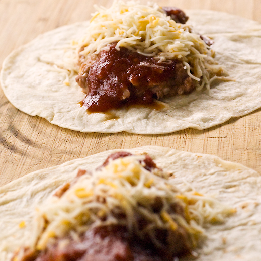 Refried Bean Burritos with Hot Taco Sauce | chaos in the kitchen
