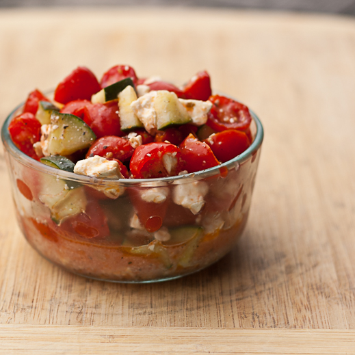 Tomato and Cucumber Summer Salad with Feta | chaos in the ...