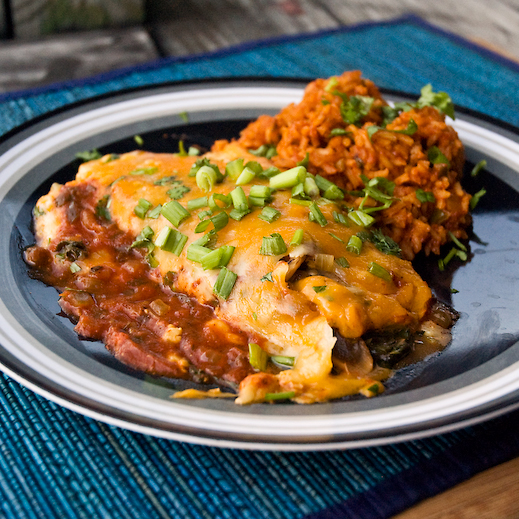 Meatless for a Meal: Spinach and Mushroom Stuffed Enchiladas | chaos ...
